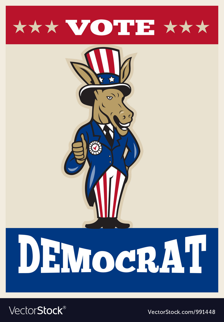 Democrat donkey mascot thumbs up flag vector | Price: 3 Credit (USD $3)