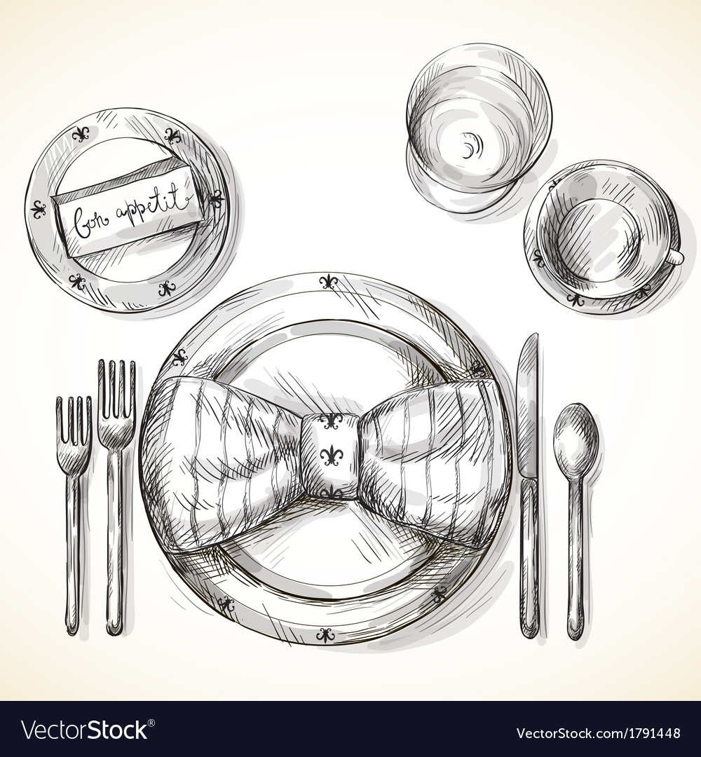 Festive table setting vector | Price: 1 Credit (USD $1)
