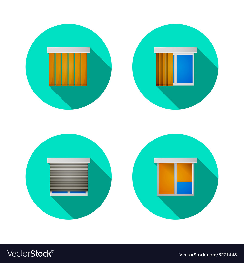 Flat icons for windows with louvers vector | Price: 1 Credit (USD $1)