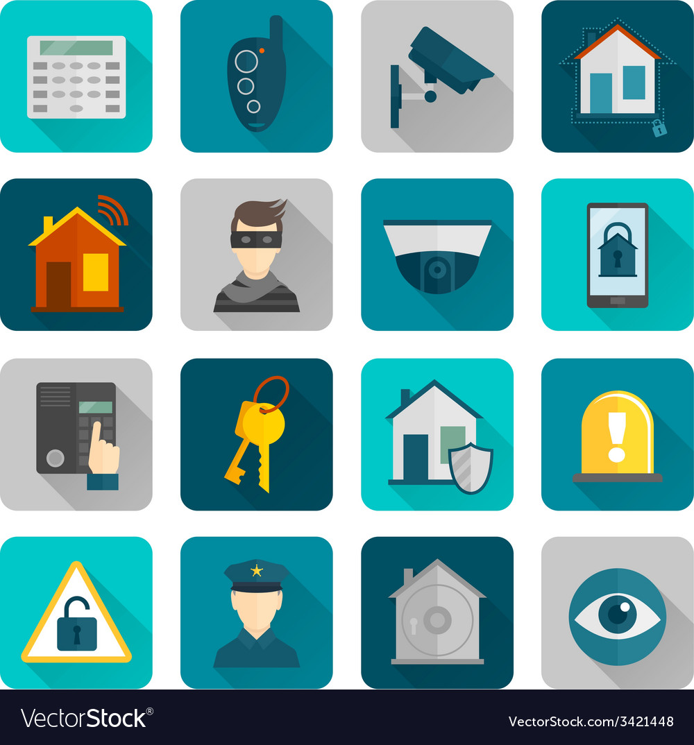 Home security icons flat vector | Price: 1 Credit (USD $1)