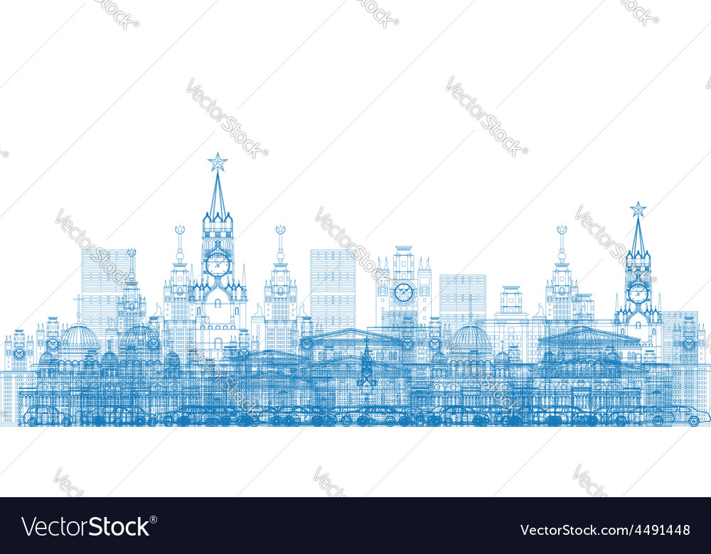 Outline moscow city skyscrapers and famous buildin vector | Price: 1 Credit (USD $1)