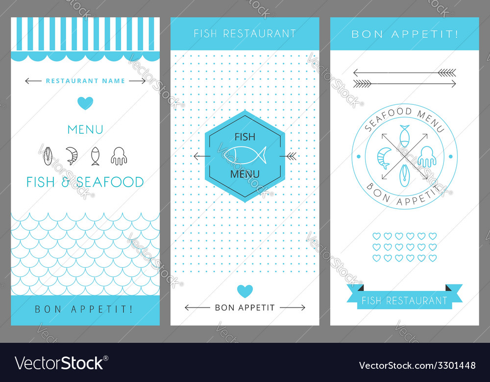 Restaurant menu design template seafood vector | Price: 1 Credit (USD $1)