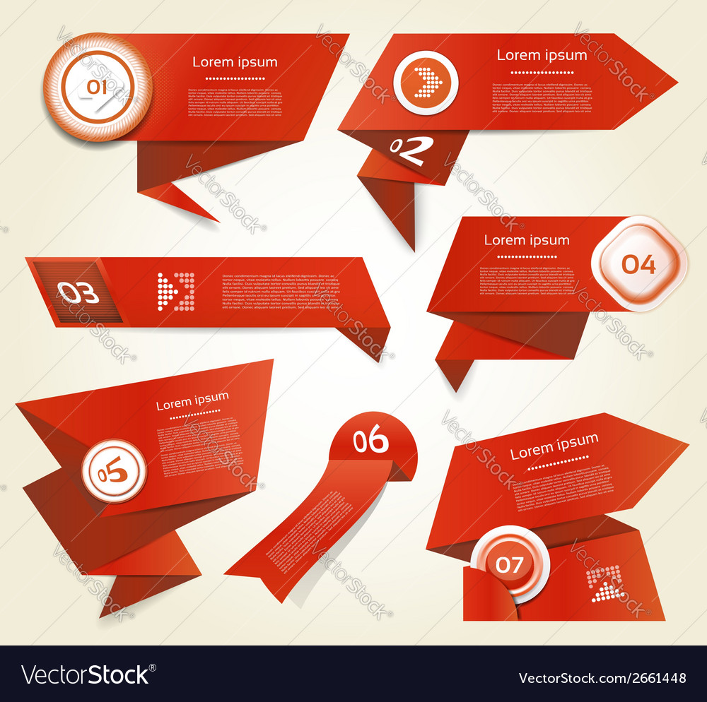 Set of red progress version step icons eps 10 vector | Price: 1 Credit (USD $1)