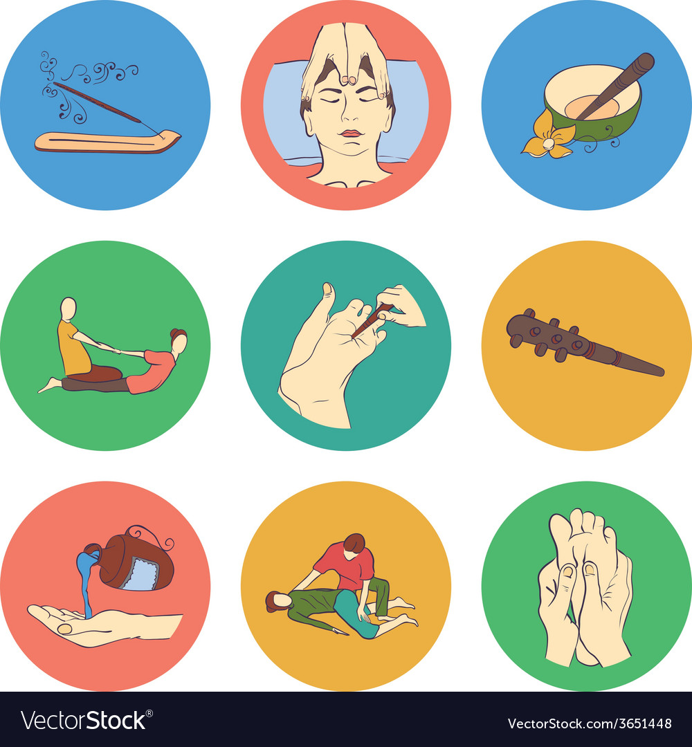 Thai massage isolated flat color icon set vector | Price: 1 Credit (USD $1)