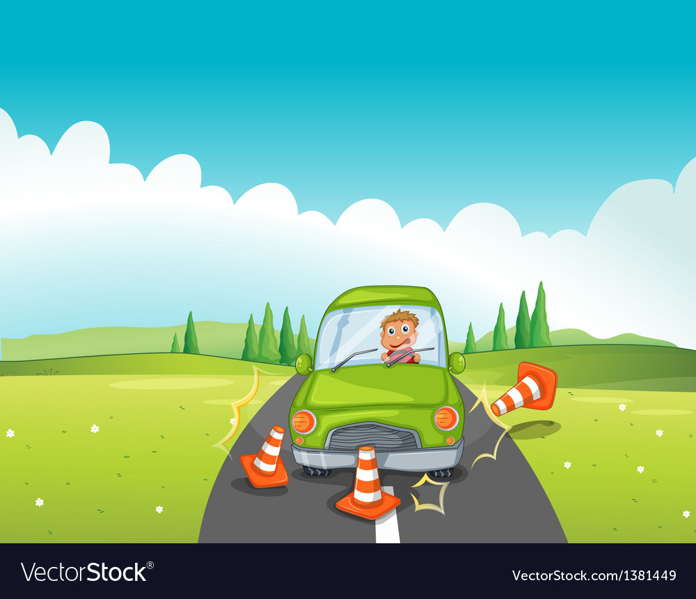 A boy in a green car bumping the traffic cones vector | Price: 1 Credit (USD $1)