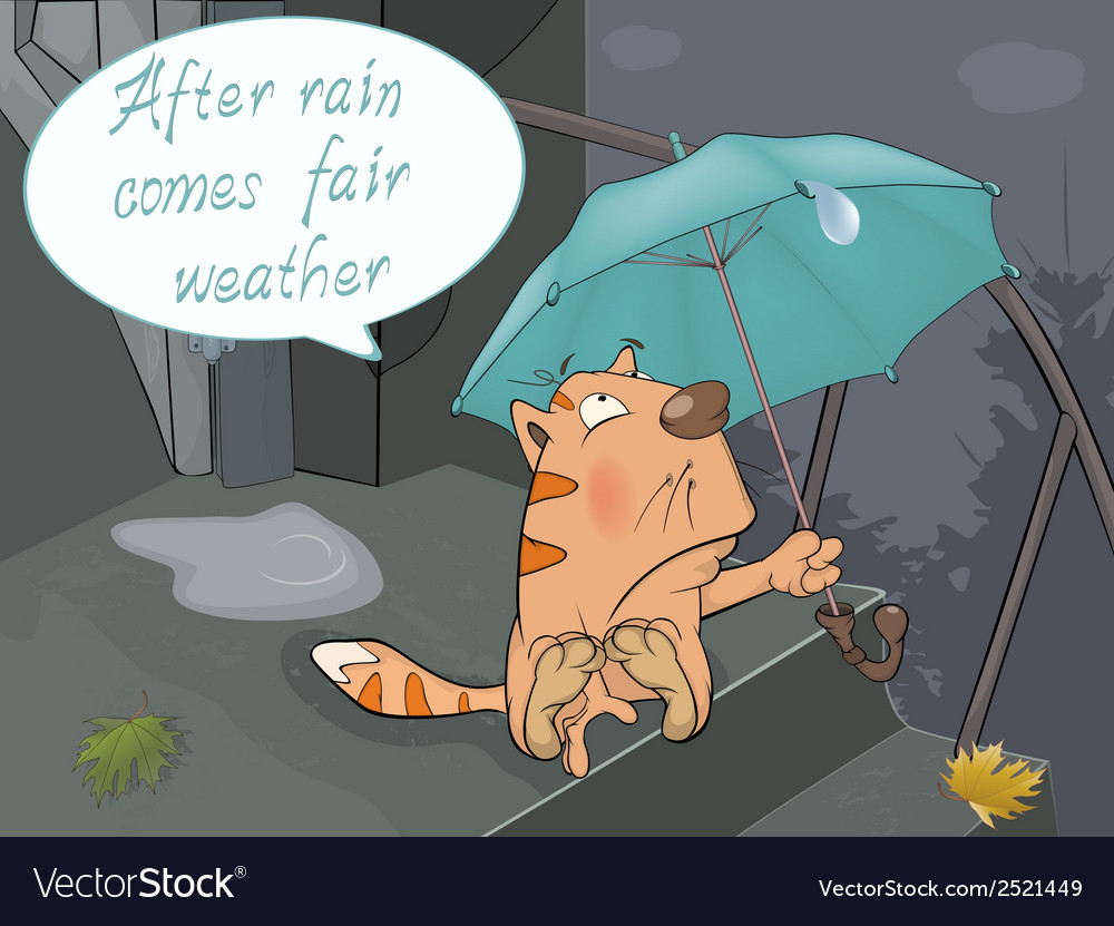 A cat and a rain comics vector | Price: 1 Credit (USD $1)
