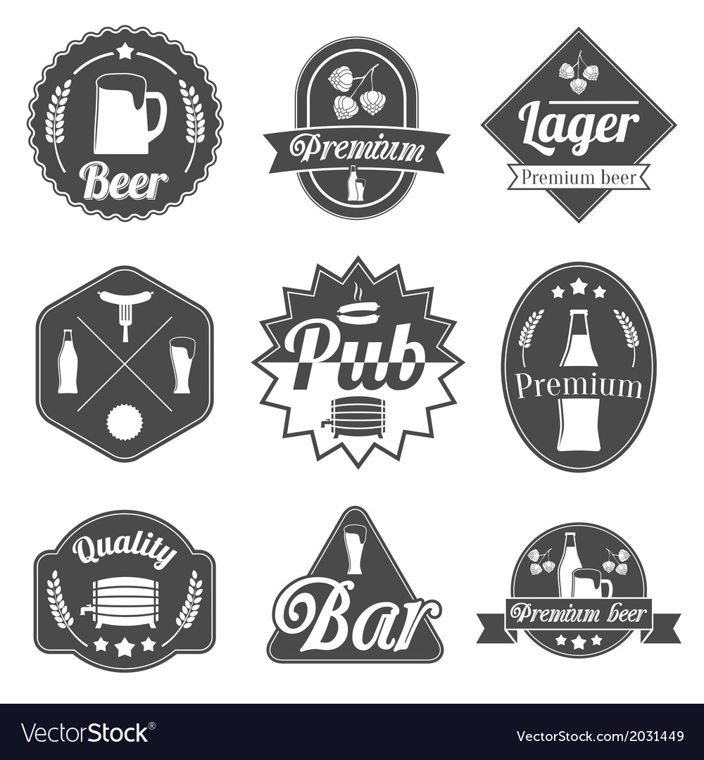 Alcohol beer labels badges collection vector | Price: 1 Credit (USD $1)