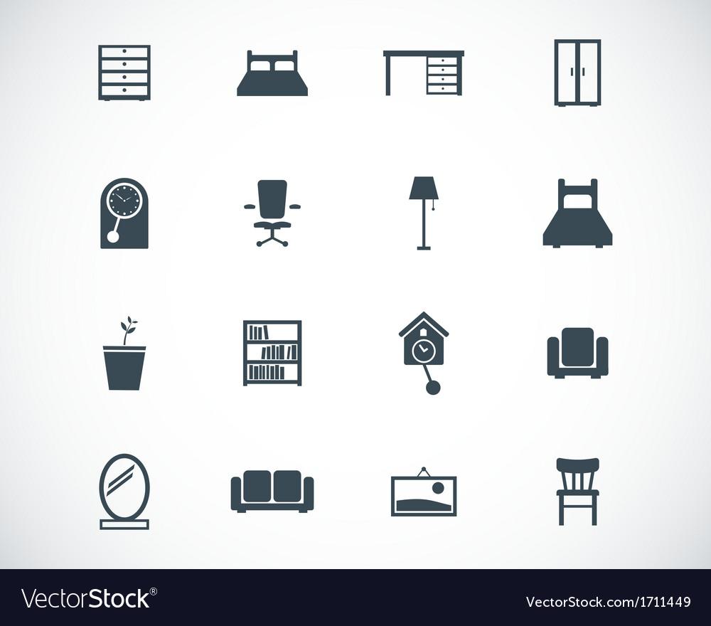 Black furniture icons set vector | Price: 1 Credit (USD $1)