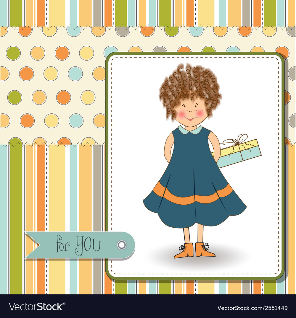Curly young girl she hide a gift vector | Price: 1 Credit (USD $1)