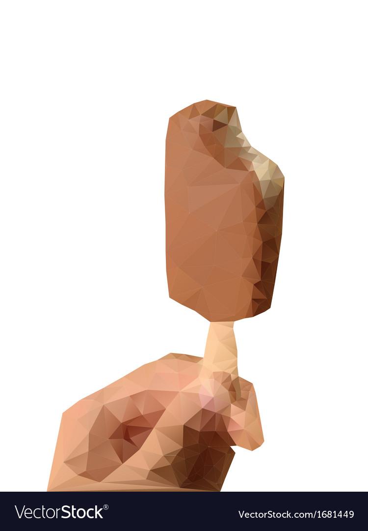 Geometric polygonal ice cream in hand vector | Price: 1 Credit (USD $1)