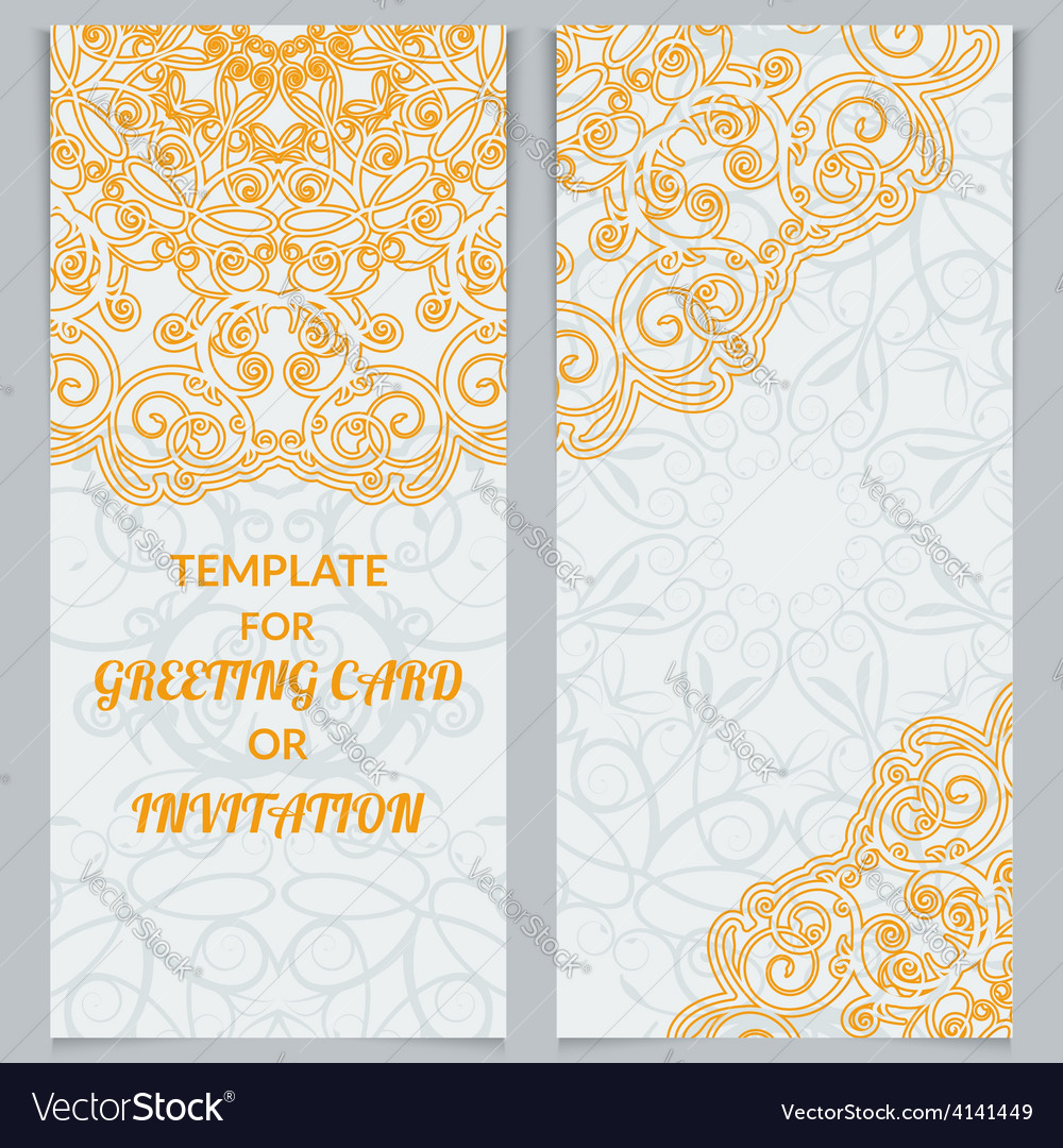 Greeting cards or invitations in east style vector | Price: 1 Credit (USD $1)