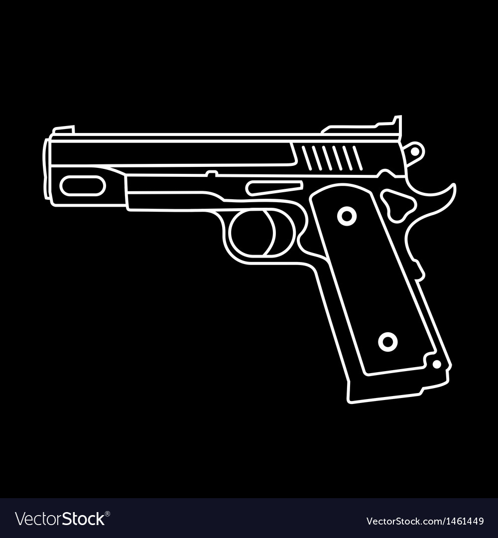 Gun on black vector | Price: 1 Credit (USD $1)