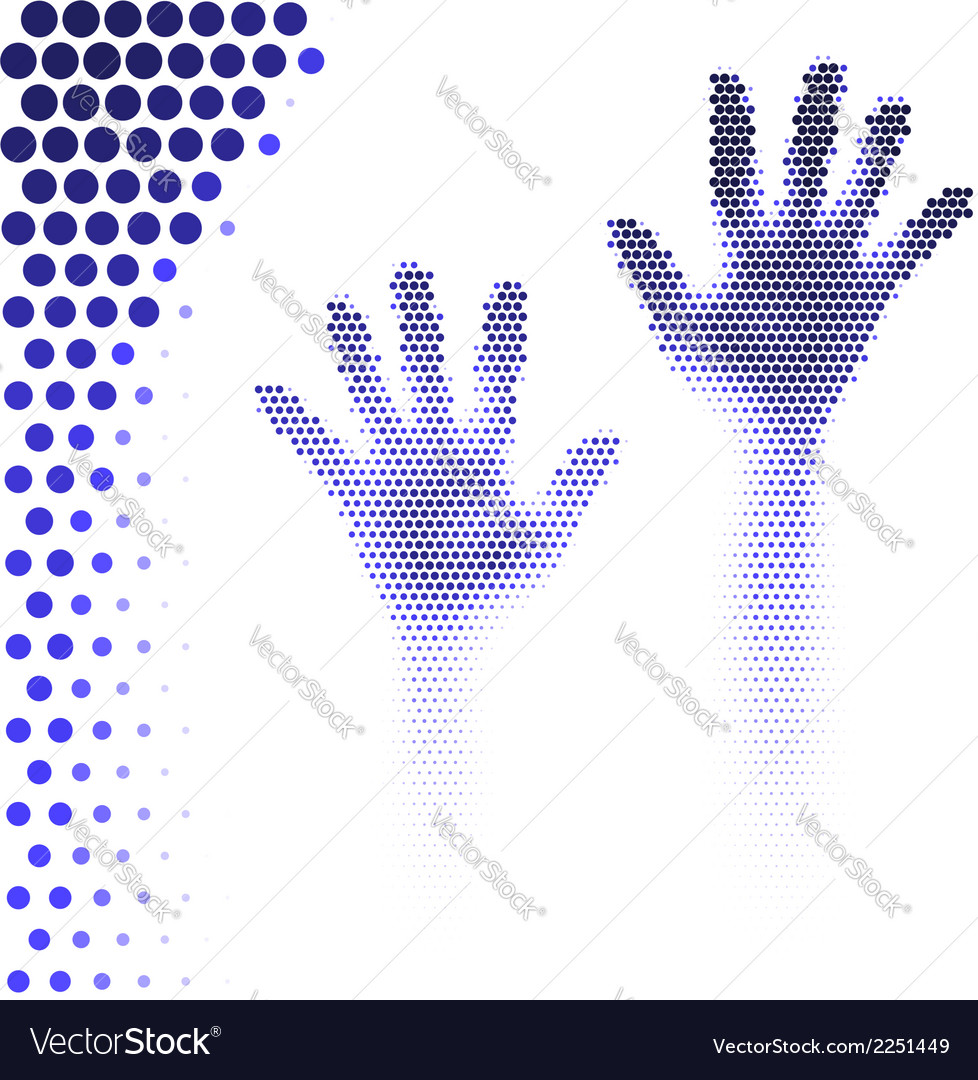Halftone hands silhouette vector | Price: 1 Credit (USD $1)
