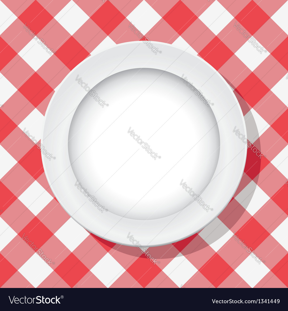 Picnic tablecloth and a plate vector | Price: 1 Credit (USD $1)
