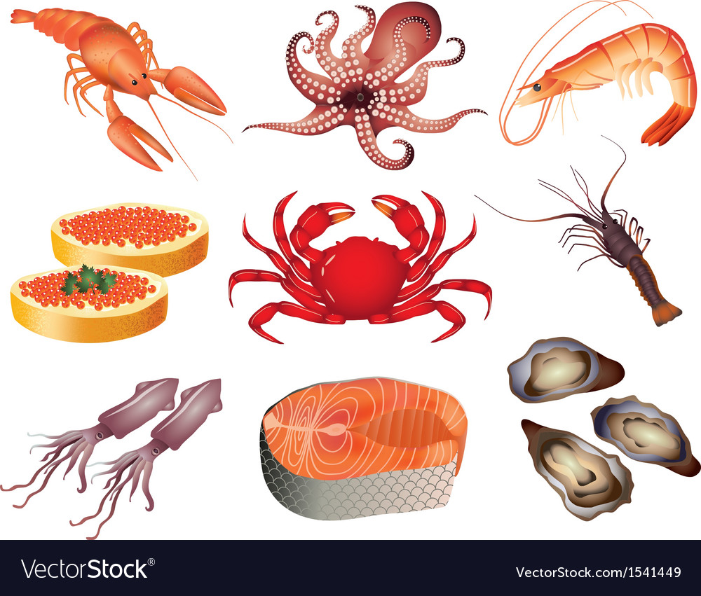 Seafood set vector | Price: 3 Credit (USD $3)