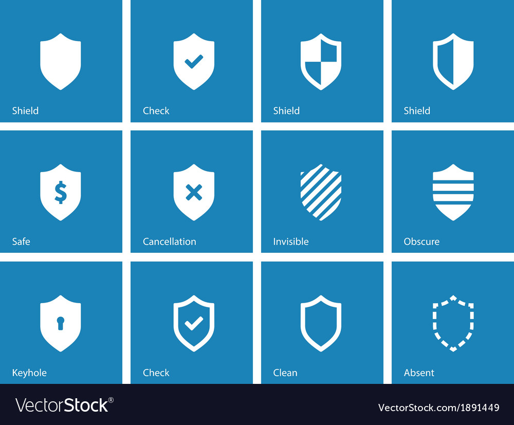 Shield icons on blue background vector | Price: 1 Credit (USD $1)
