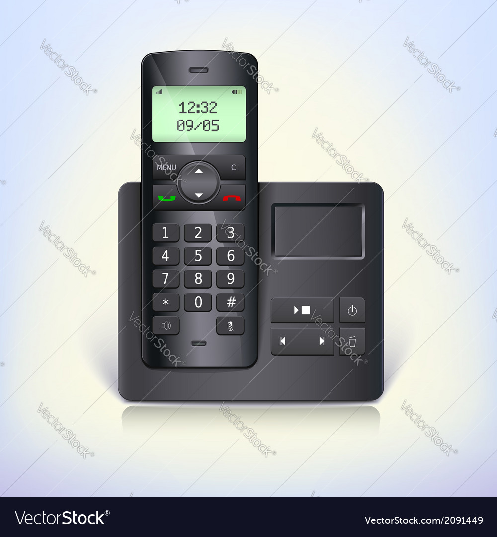 Wireless telephone phone with answering machine vector | Price: 1 Credit (USD $1)