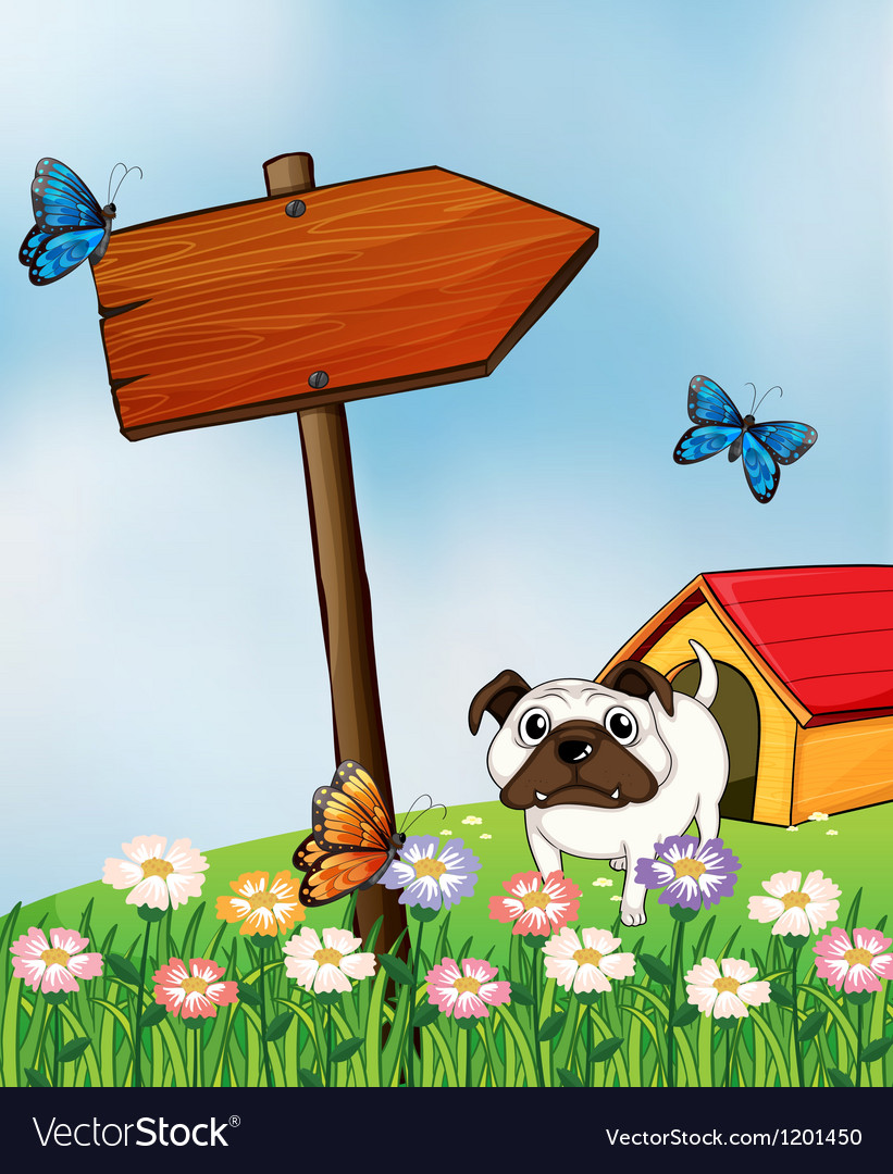 A bulldog and the three colorful butterflies vector | Price: 1 Credit (USD $1)