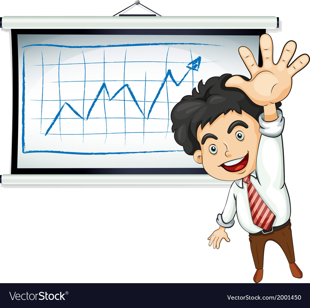 A happy businessman in front of the bulletin board vector | Price: 3 Credit (USD $3)
