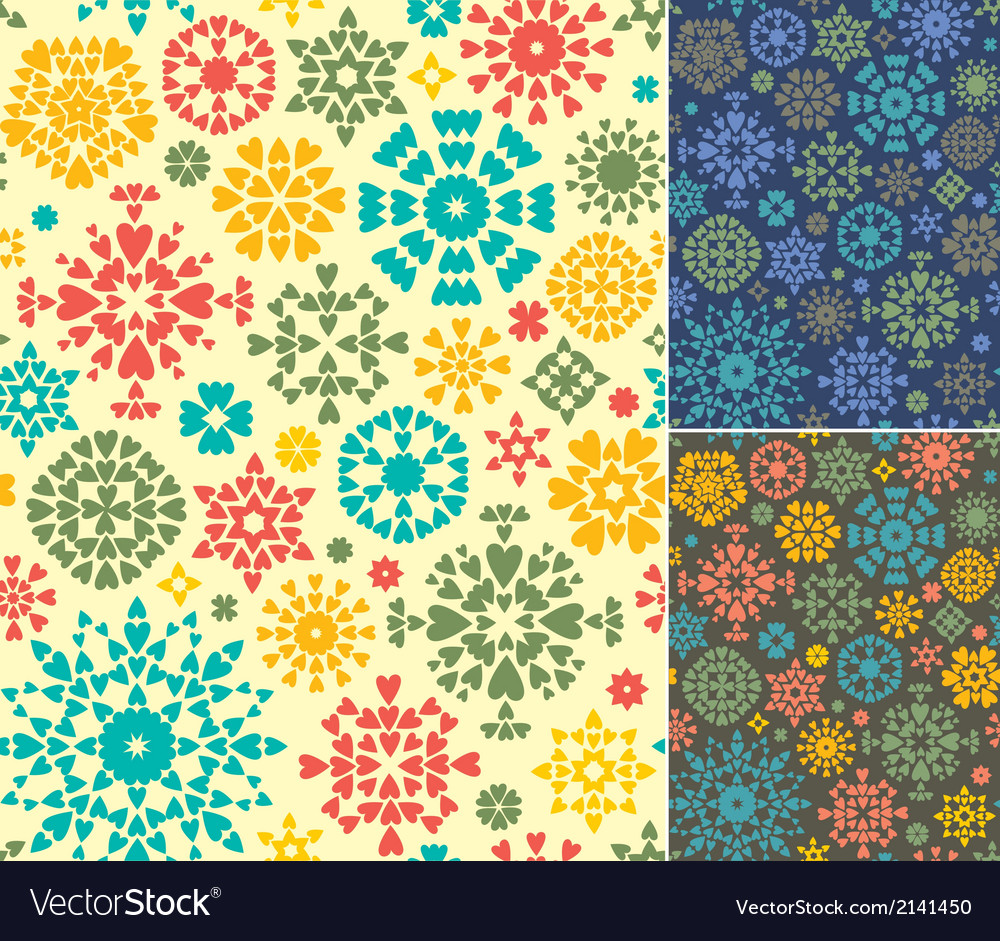 Abstract seamless patterns set of three colors vector | Price: 1 Credit (USD $1)