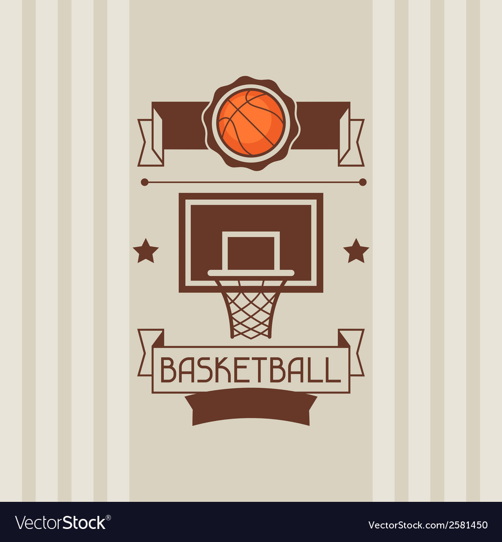 Background with basketball ball hoop and labels vector | Price: 1 Credit (USD $1)