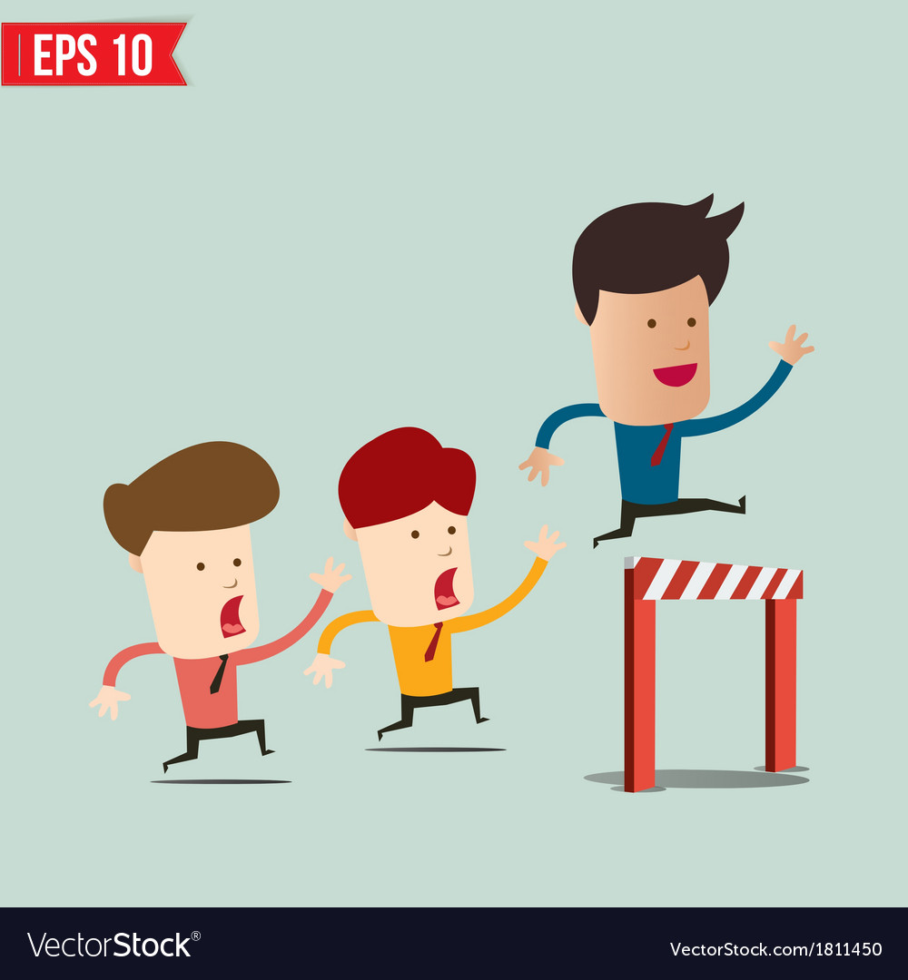 Business man jumping over an obstacle on the way vector | Price: 1 Credit (USD $1)