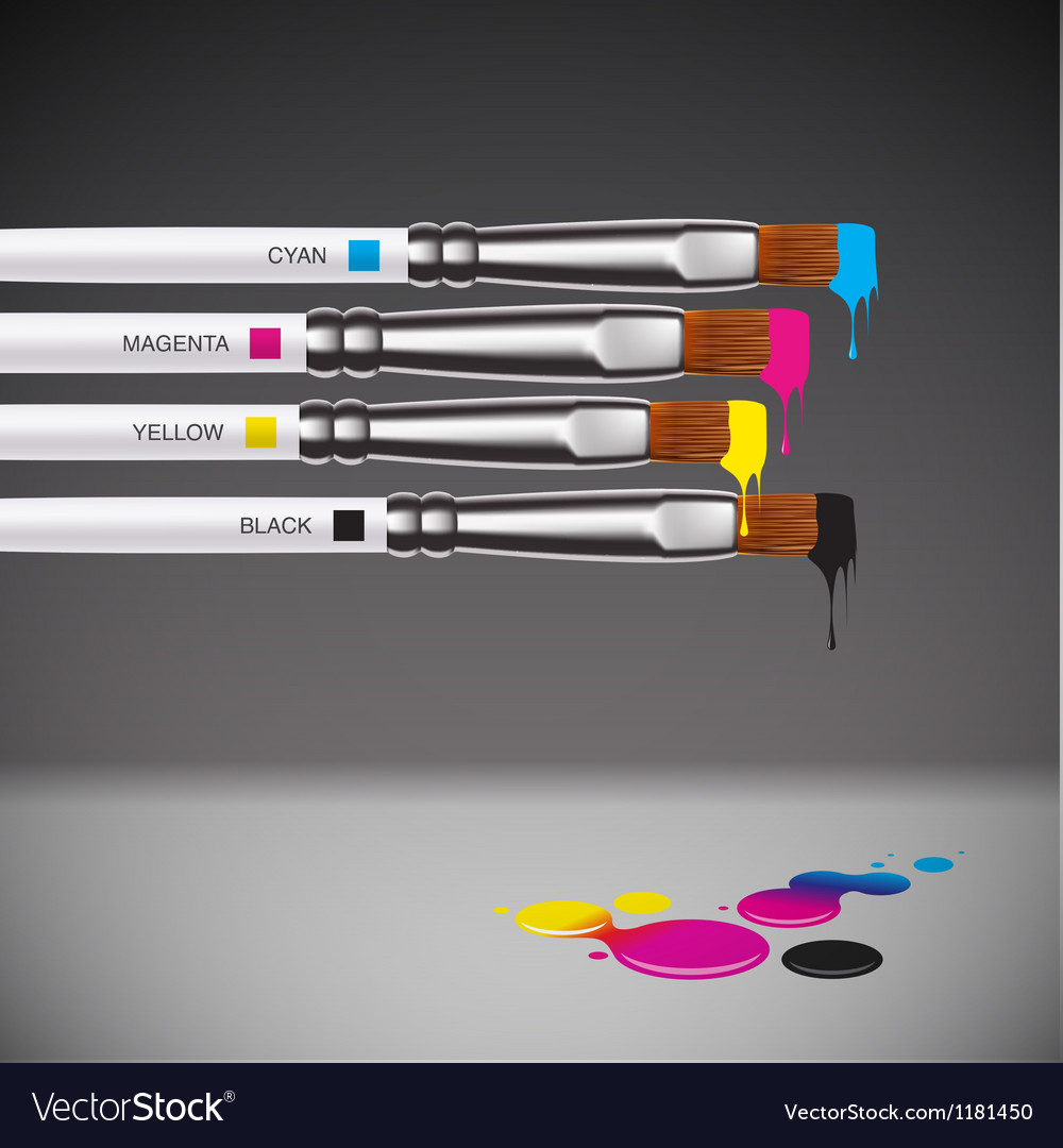 Cmyk brushes on grey background vector | Price: 3 Credit (USD $3)