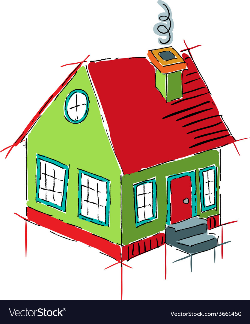 Colorful house sketch isolated on white vector | Price: 1 Credit (USD $1)