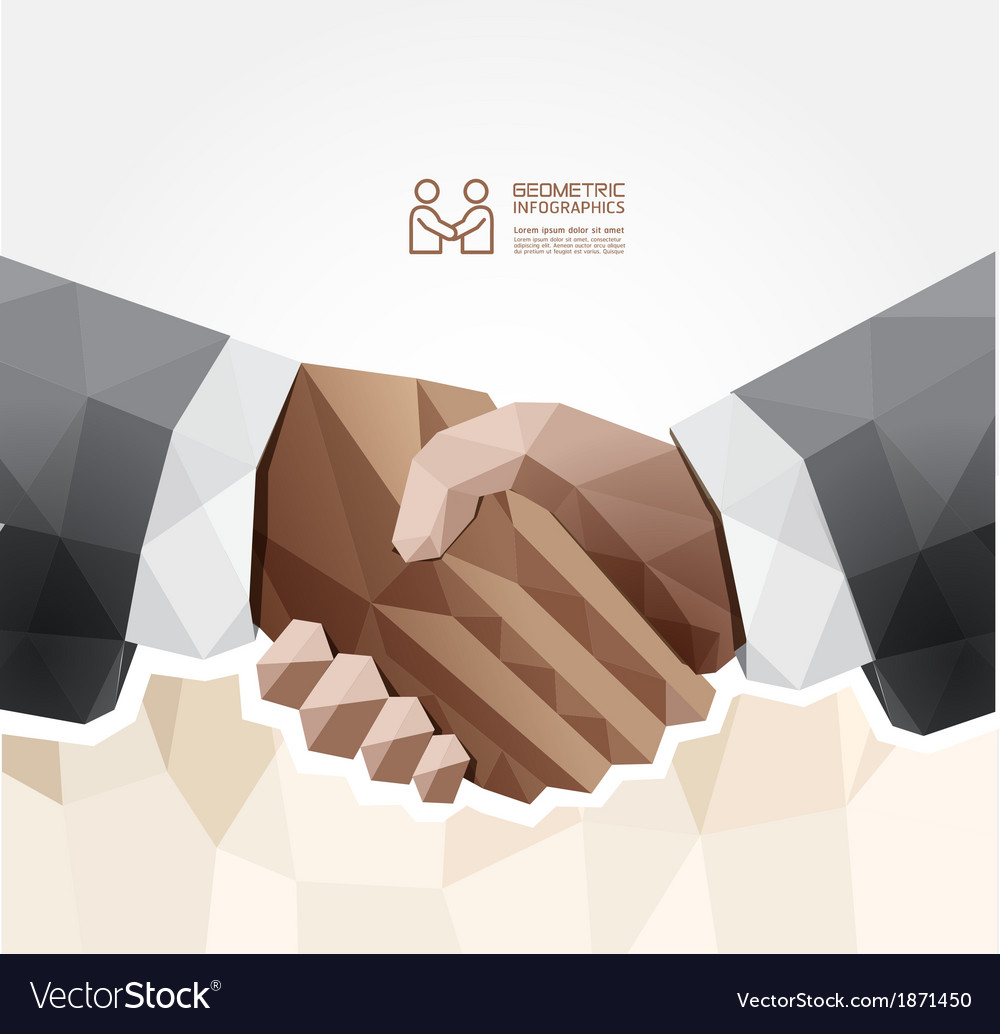 Geometric modern handshake design vector | Price: 1 Credit (USD $1)