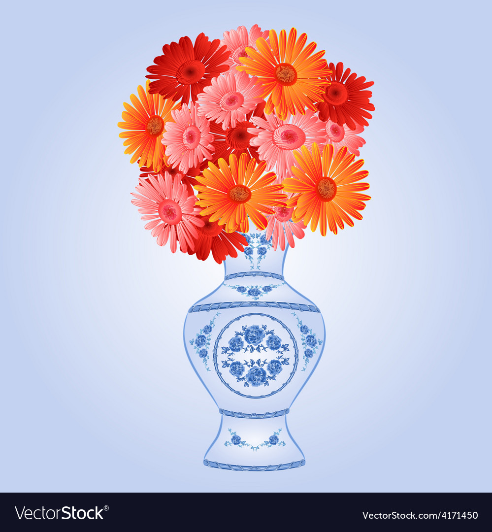 Gerbera in faience vase festive blue background vector | Price: 1 Credit (USD $1)