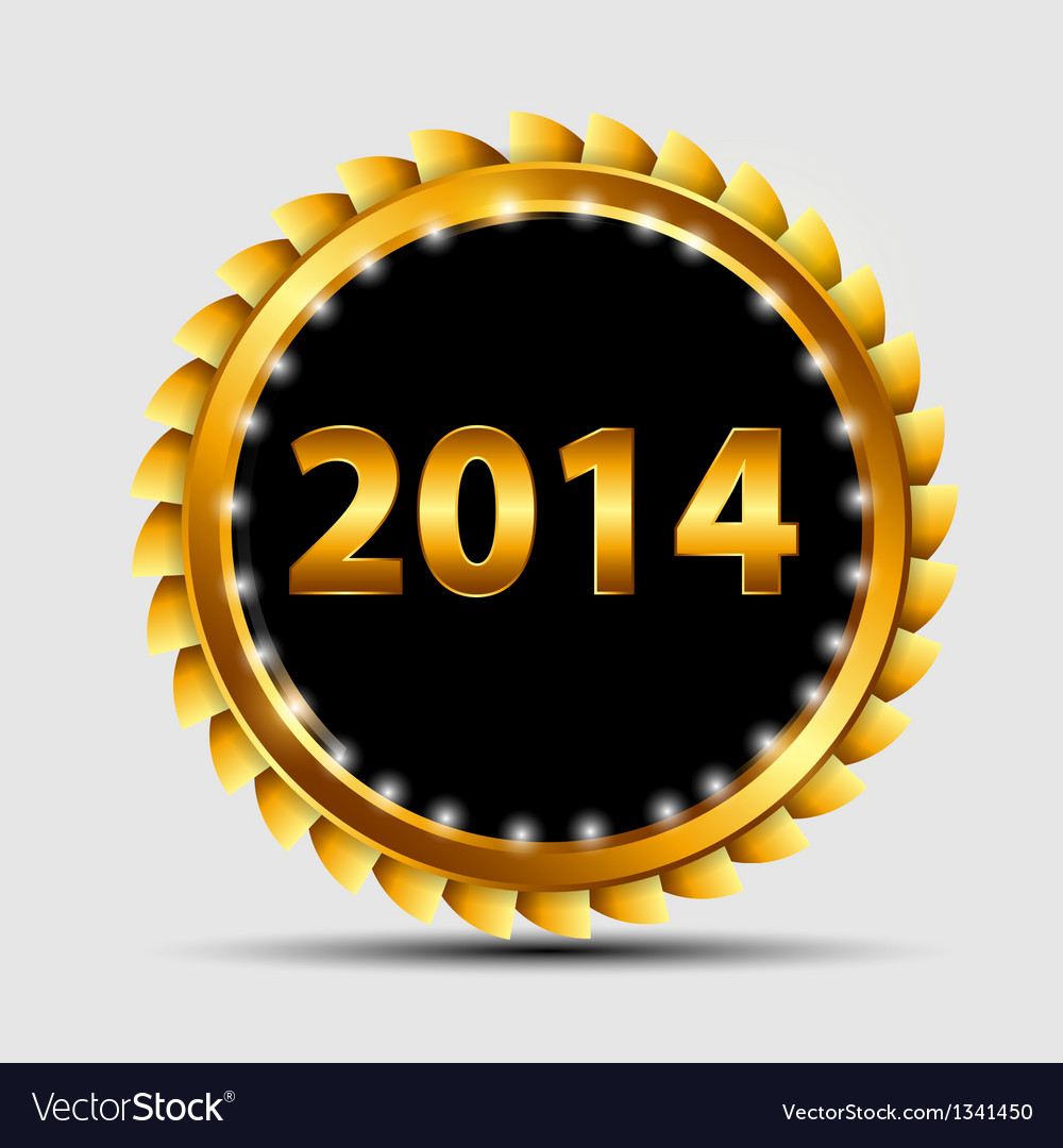 Gold 2014 sign label template vector | Price: 1 Credit (USD $1)