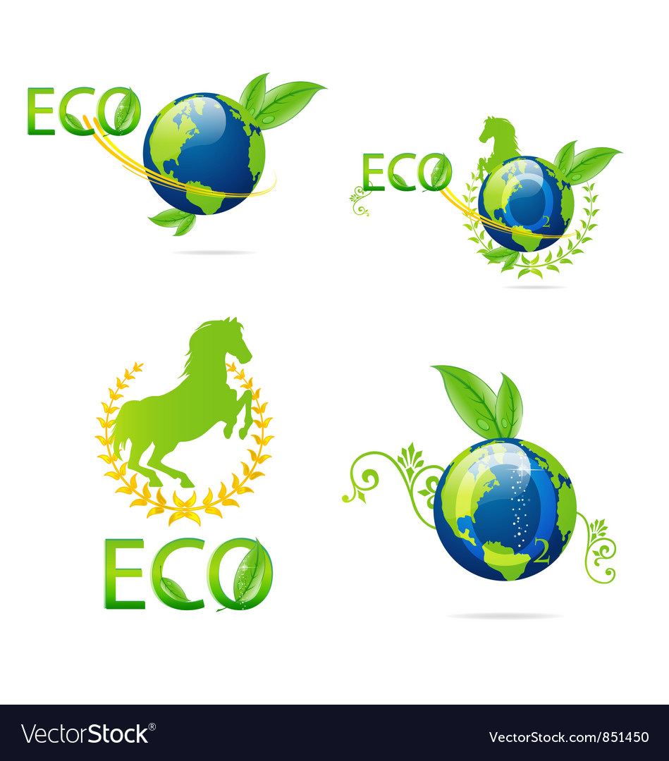 Green eco earth sign set vector | Price: 1 Credit (USD $1)