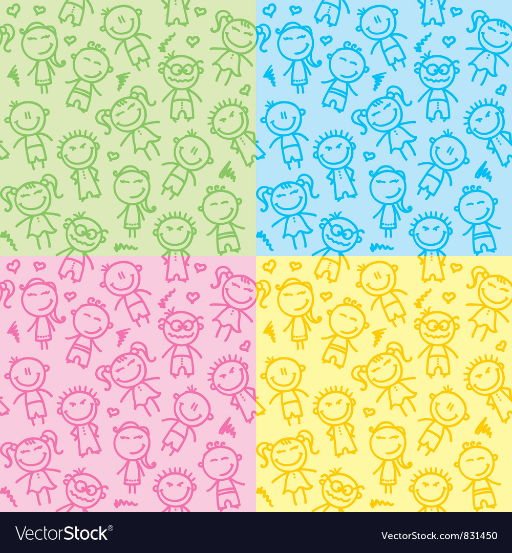 Seamless patterns with kids vector | Price: 1 Credit (USD $1)