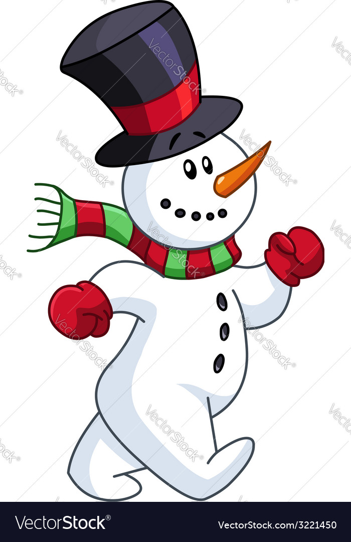 Snowman walking vector | Price: 1 Credit (USD $1)