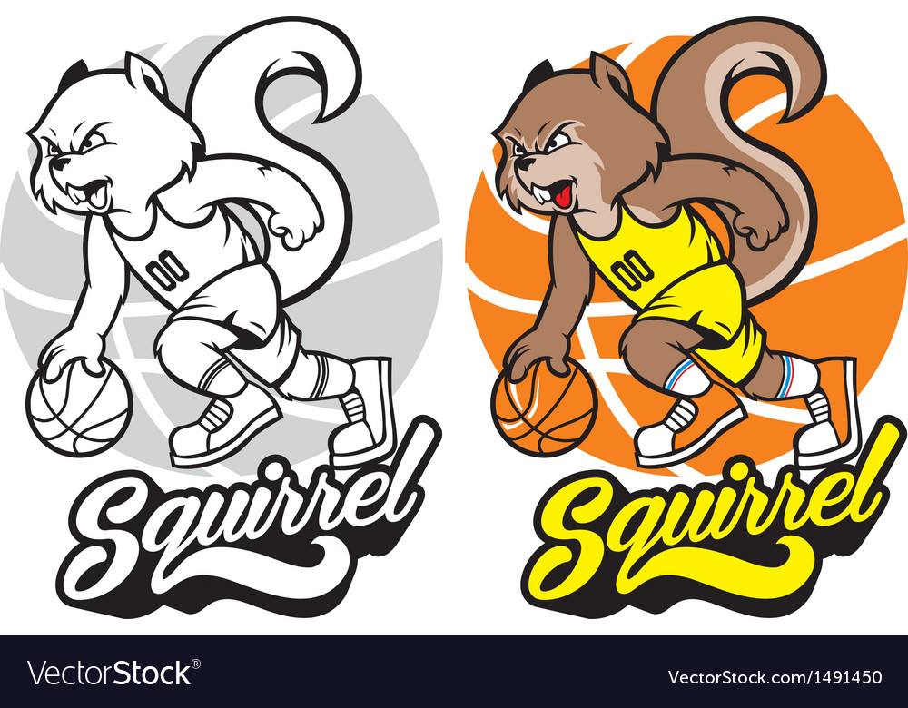Squirrel basketball mascot vector | Price: 1 Credit (USD $1)