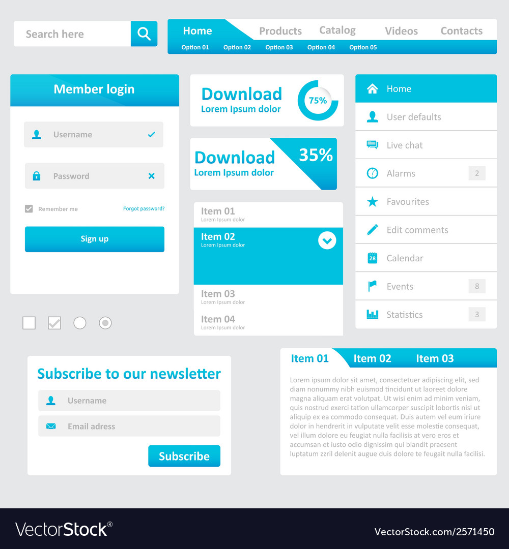 Website elements vector | Price: 1 Credit (USD $1)