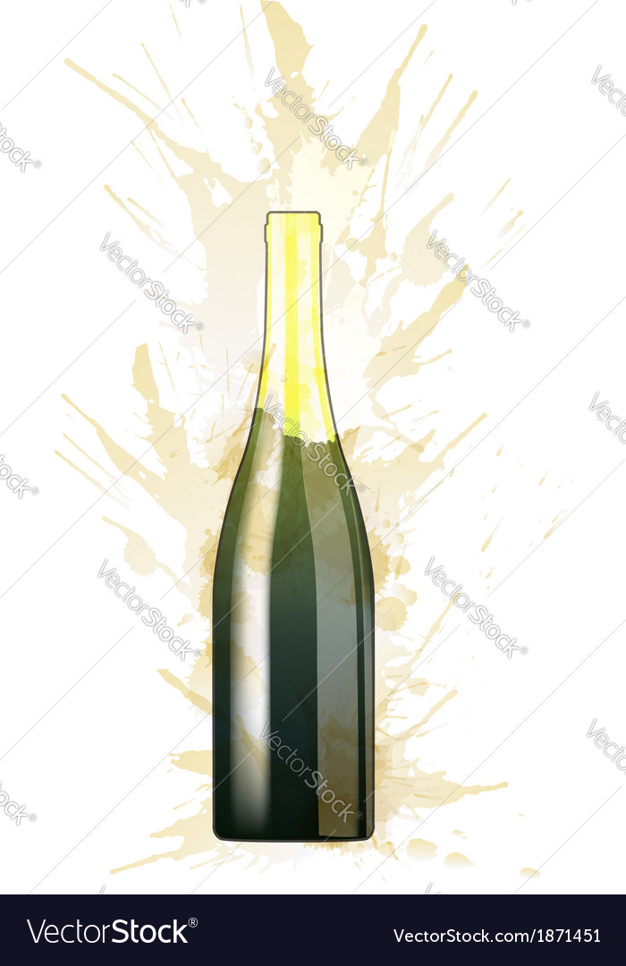 Bottle of sparkling wine made of colorful splashes vector | Price: 1 Credit (USD $1)