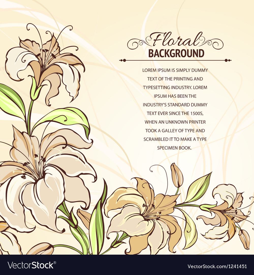 Brown background with blooming lilies vector | Price: 3 Credit (USD $3)