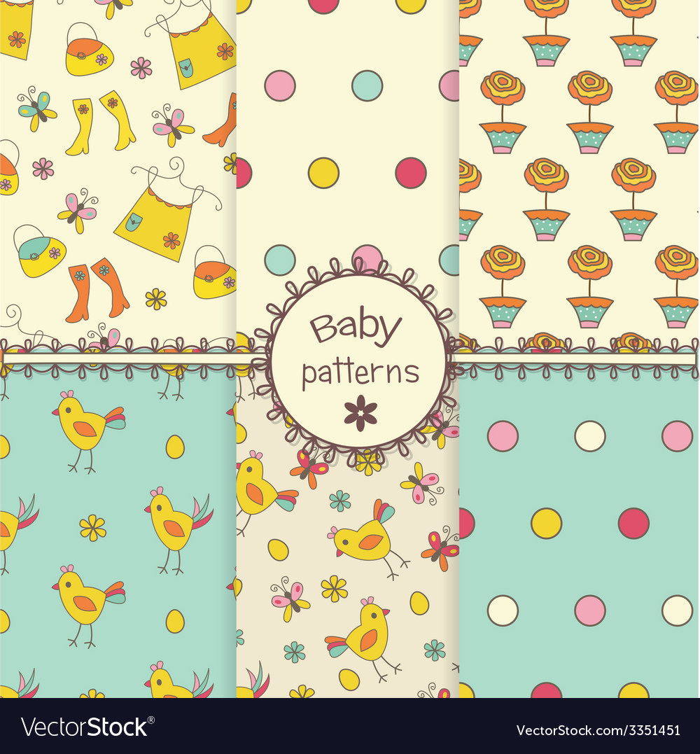 Doodle seamless patterns vector | Price: 1 Credit (USD $1)