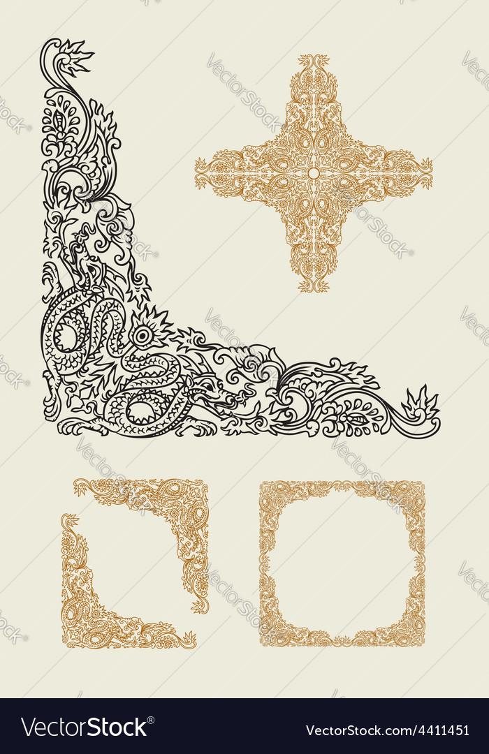 Dragon corner floral ornament decoration vector | Price: 1 Credit (USD $1)