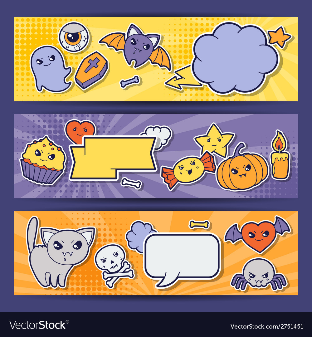 Halloween kawaii horizontal banners with cute vector | Price: 1 Credit (USD $1)