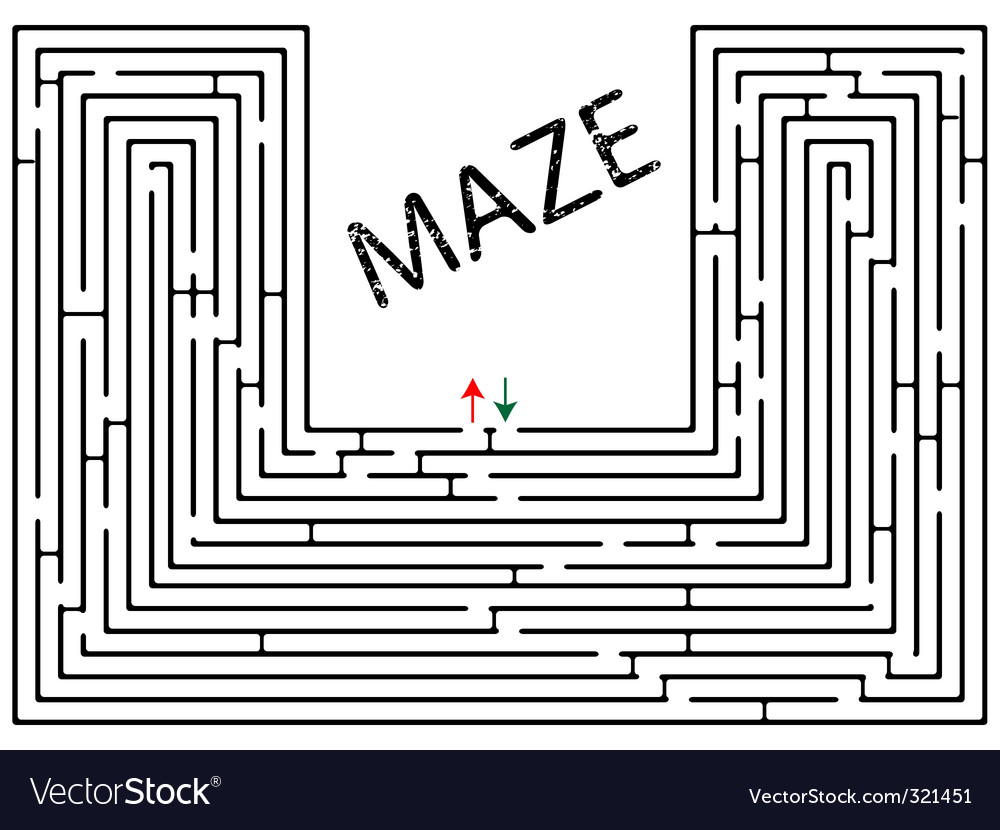 Maze against white vector | Price: 1 Credit (USD $1)