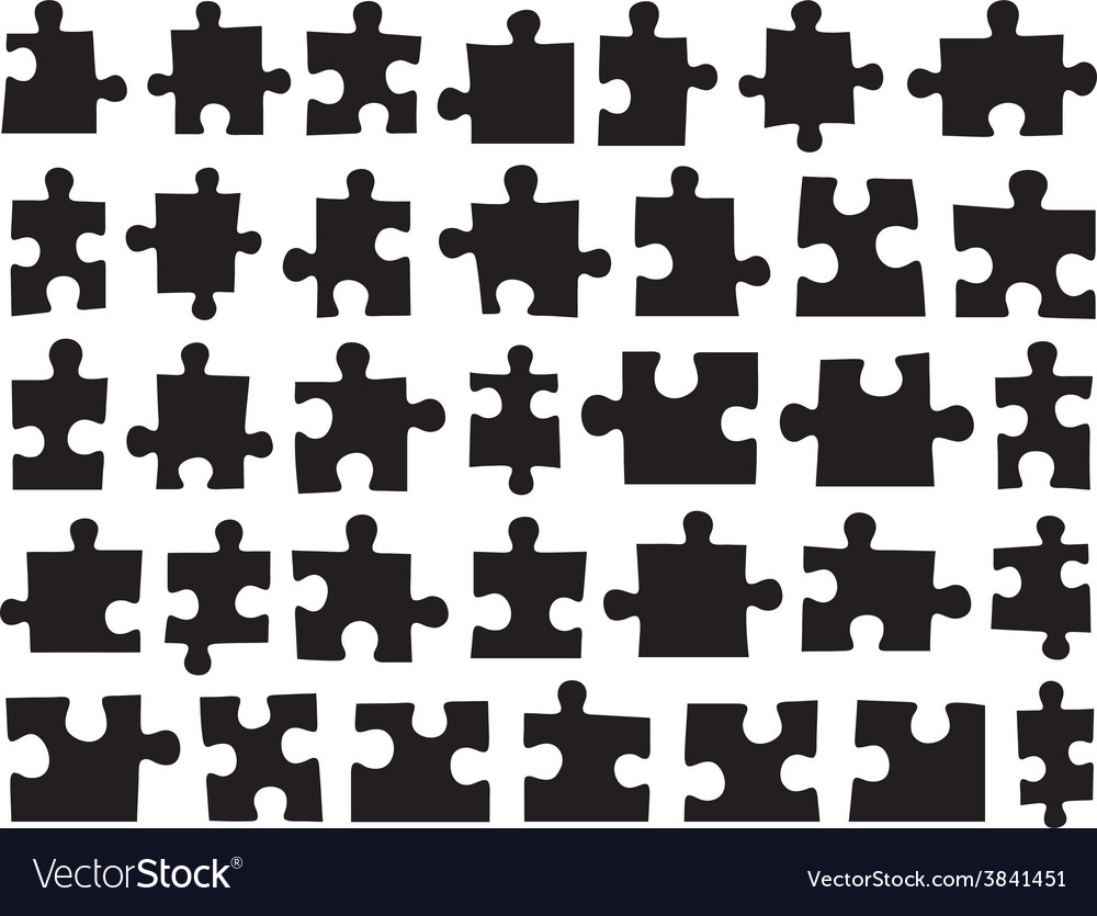 Set of different puzzle pieces vector