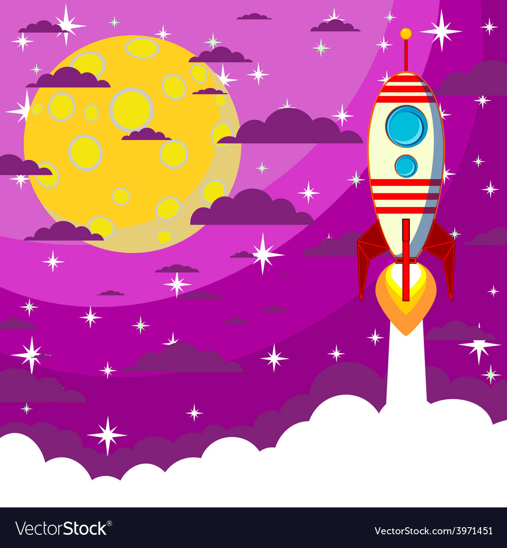 Space rocket  moon in the starry sky with space vector | Price: 1 Credit (USD $1)