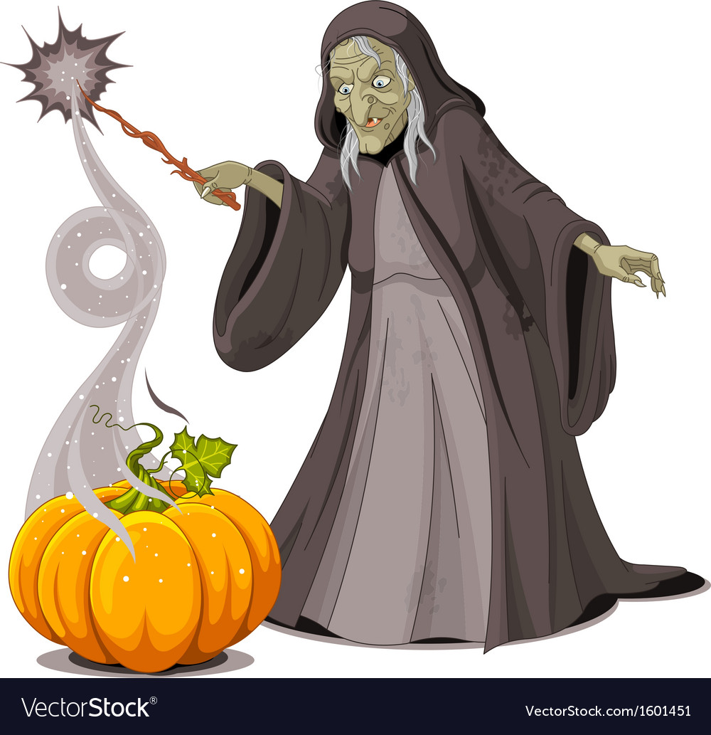 Witch casts a spell over pumpkin vector | Price: 1 Credit (USD $1)
