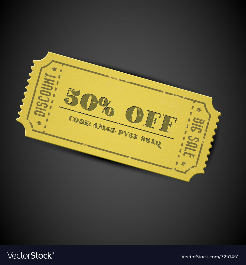 Yellow vintage sale coupon vector | Price: 1 Credit (USD $1)
