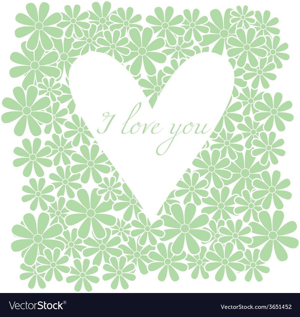 Flowers background with heart vector | Price: 1 Credit (USD $1)