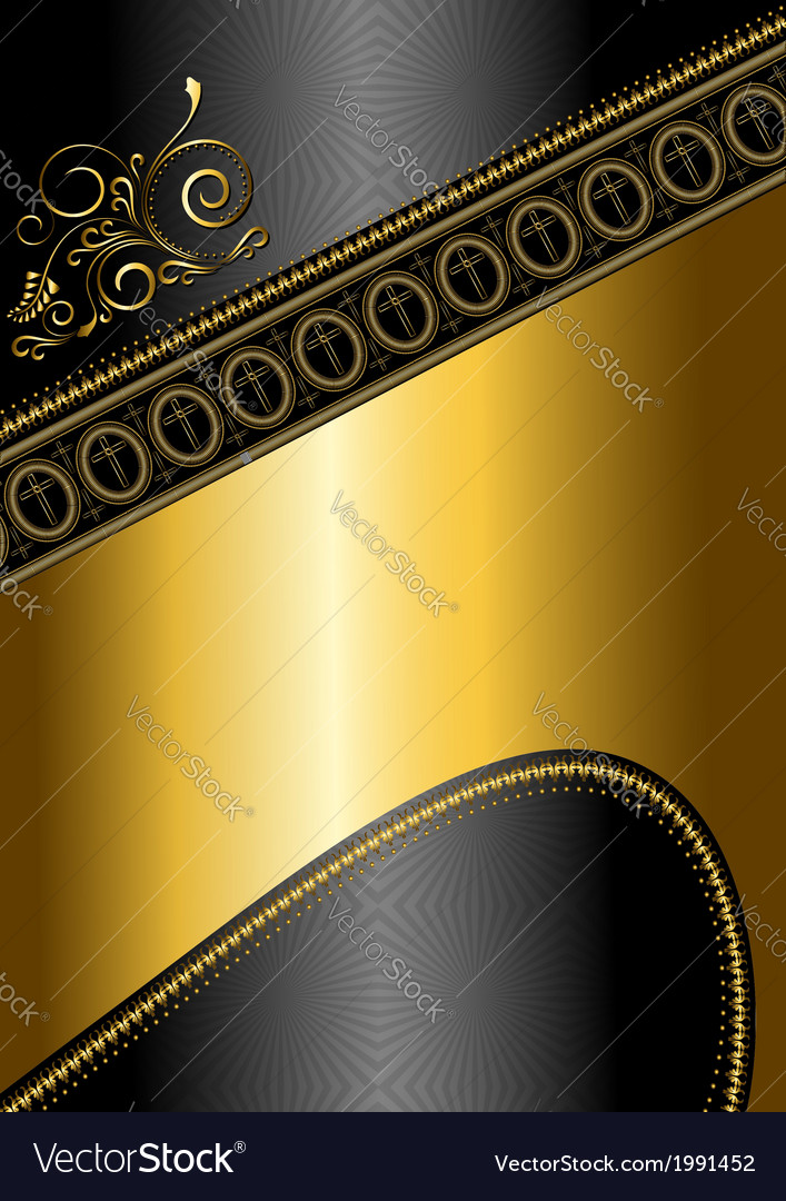 Golden pattern and border with crosses vector | Price: 1 Credit (USD $1)