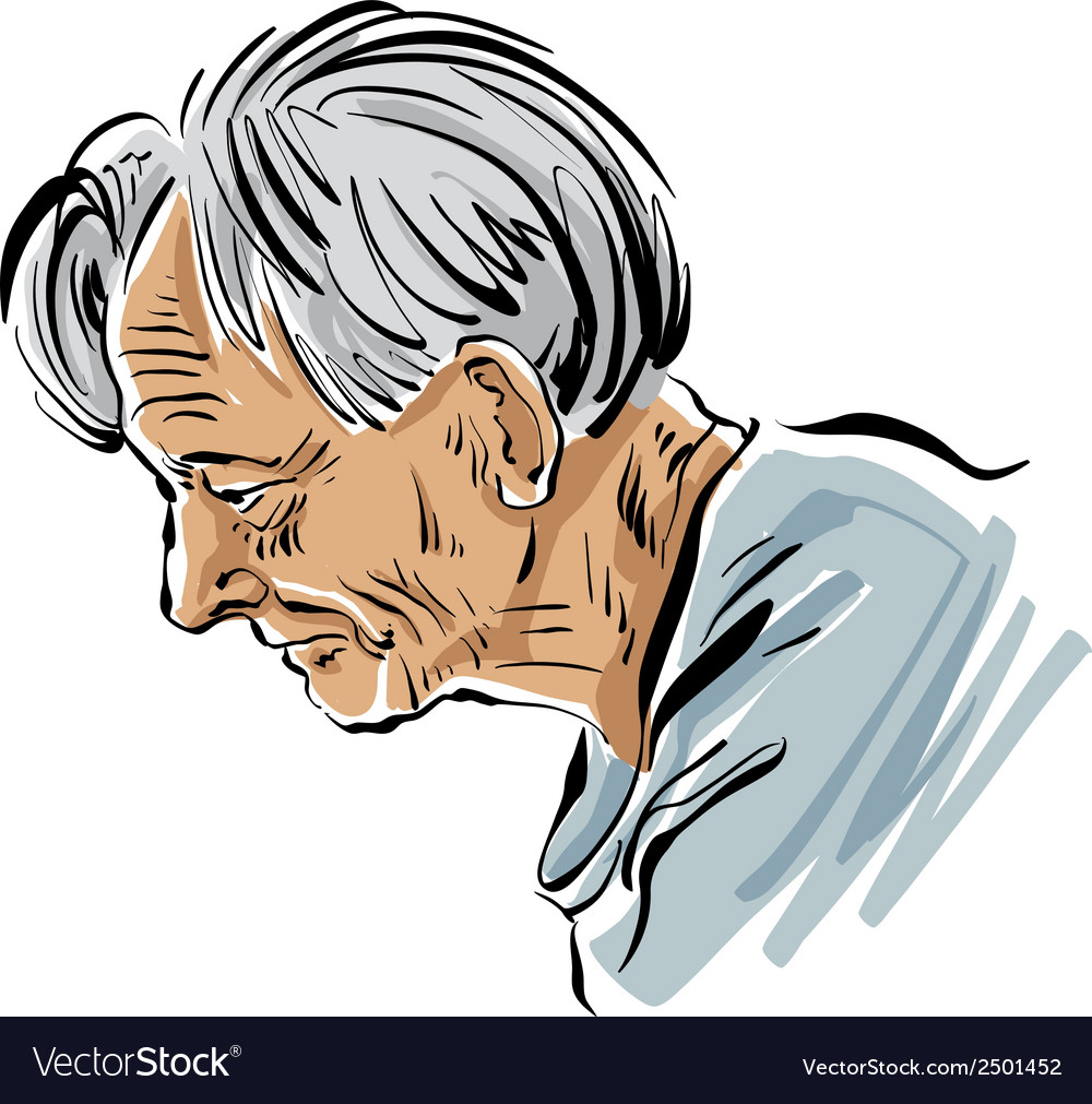 Hand drawn old man on white background grey-haired vector | Price: 1 Credit (USD $1)