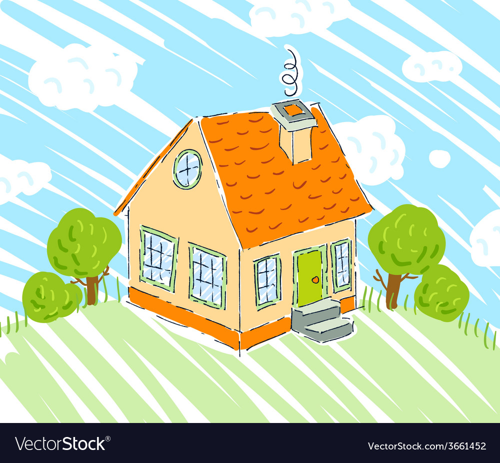 Kids drawing of new house on nature background vector | Price: 1 Credit (USD $1)